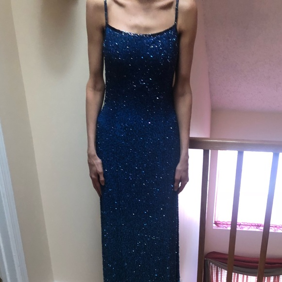 Cache Dresses & Skirts - Beaded blue hombre gown